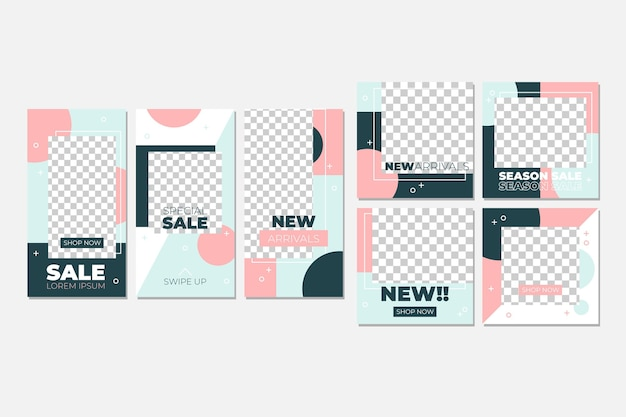 Pastel pink instagram post collection Free Vector