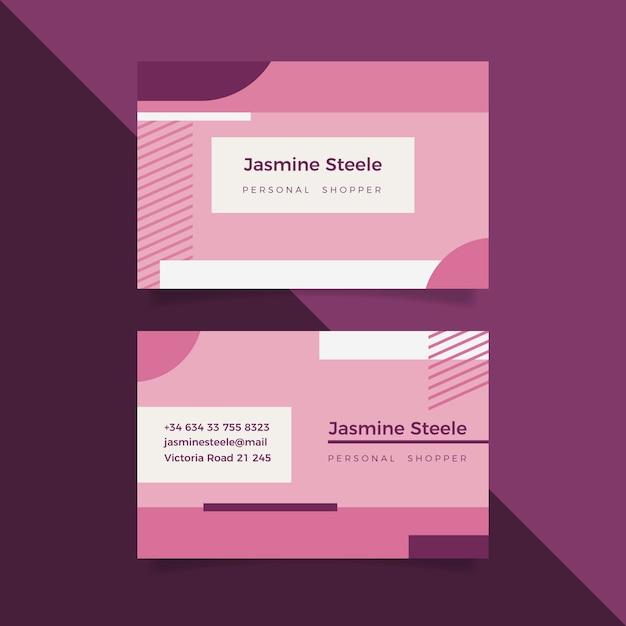 Пастельно-розовый минимальный шаблон визитной карточки Бесплатные векторы