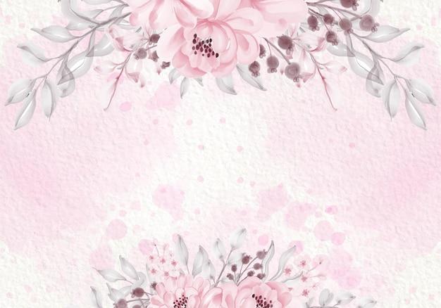 Пастельная розовая фиолетовая открытка с полевыми цветами, зелеными листьями, рамкой Бесплатные векторы