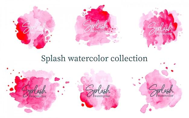 Pastel pink splash watercolor collection Premium Vector