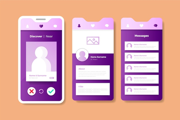 Pastel pink and violet dating app interface | Free Vector