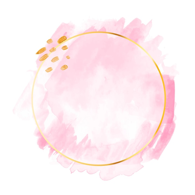 Пастельно-розовая акварель с золотой рамкой Бесплатные векторы