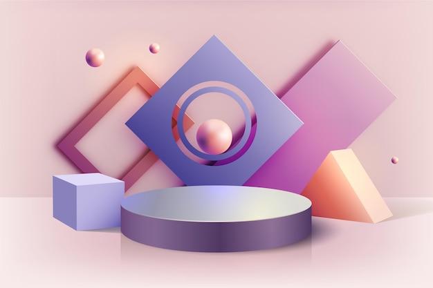 Пастельный подиум в 3d эффекте Бесплатные векторы