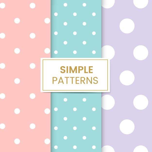 Pastel polka dot seamless pattern set Free Vector