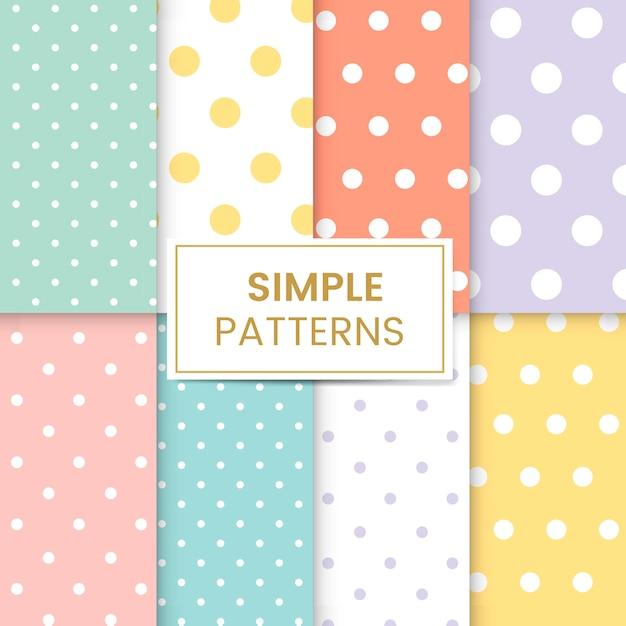 Pastel polka dot seamless pattern vector set Free Vector