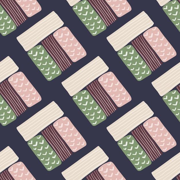 パステルカラーの長方形のシルエットのシームレスパターン。ネイビーブルーの背景。白、ピンク、緑、暗い栗色の幾何学図形。 Premiumベクター