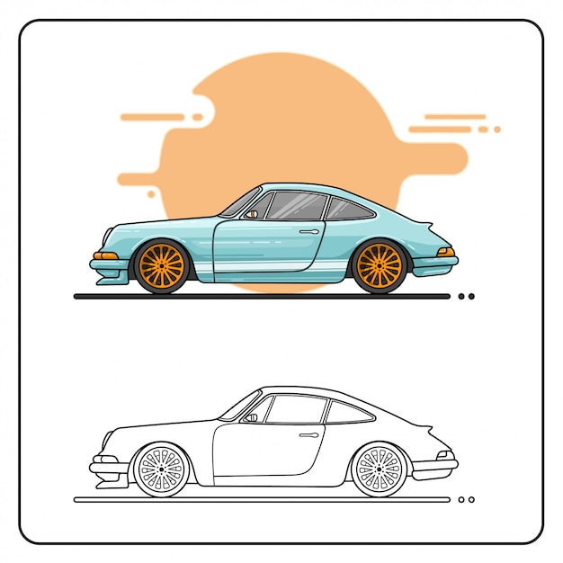 Pastel retro car easy editable Premium векторы
