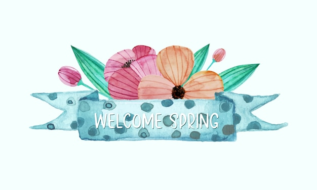 水彩風の花で飾られたパステルリボン 無料ベクター