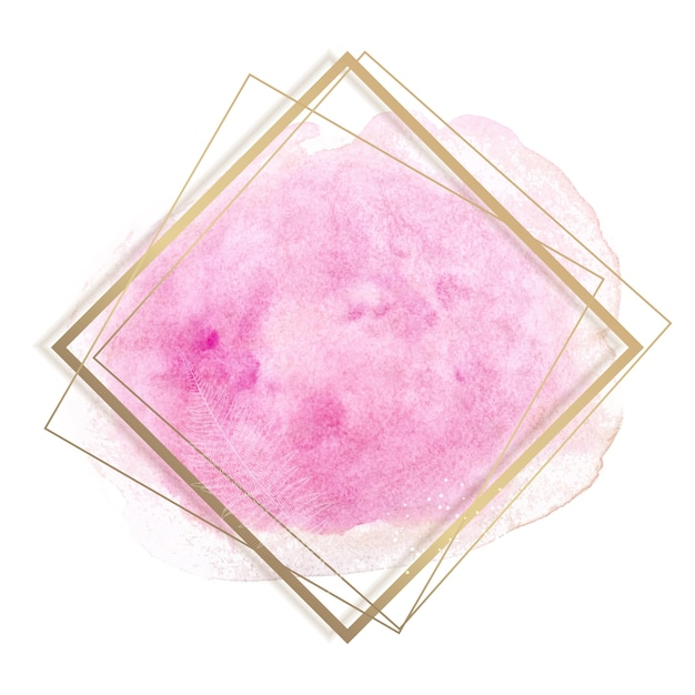 파스텔 로즈와 핑크 브러쉬 페인트 스트로크와 골드 컨투어 프레임. 프리미엄 벡터
