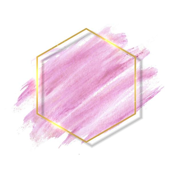 Пастельные розовые и розовые мазки кистью и золотая контурная рамка. Premium векторы