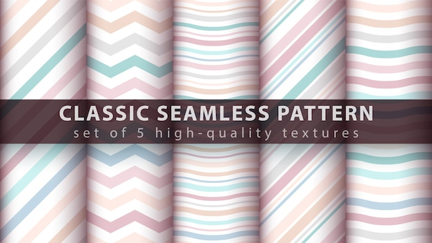Pastel seamless line and wave pattern Premium Vector