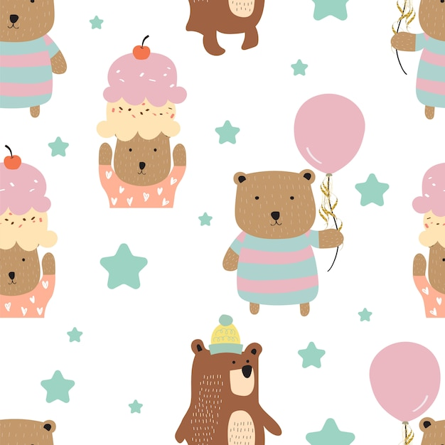 Pastel seamless pattern with bear Premium Vector