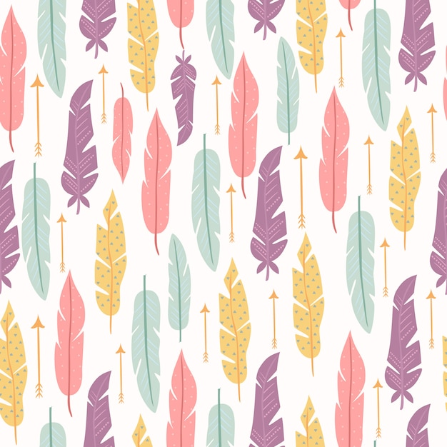 Pastel seamless pattern with feathers Free Vector