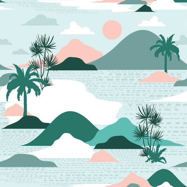 Pastel silhouette of island seamless pattern vector Premium Vector