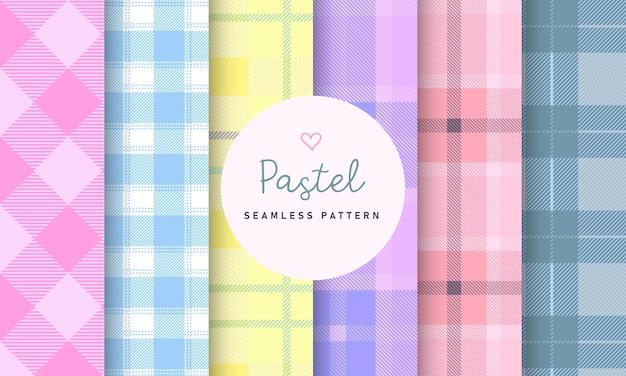 파스텔 타탄 체크 무늬 원활한 패턴 컬렉션 무료 벡터