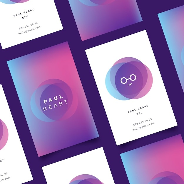 Pastel template for gradient business cards Free Vector