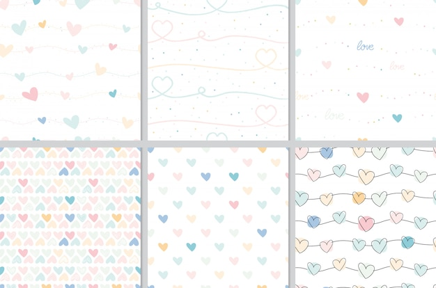 Pastel valentine doodle heart seamless pattern collection Premium Vector