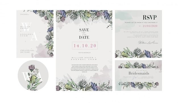 Шаблон свадебного приглашения с украшениями pastel vintage flower Premium векторы