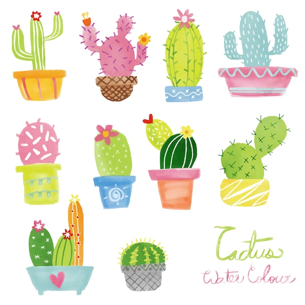 Pastel watercolor cactus vector set Premium Vector