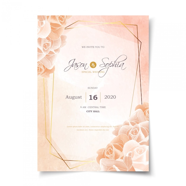 Pastel watercolor rose and gold frame wedding invitation Premium Vector
