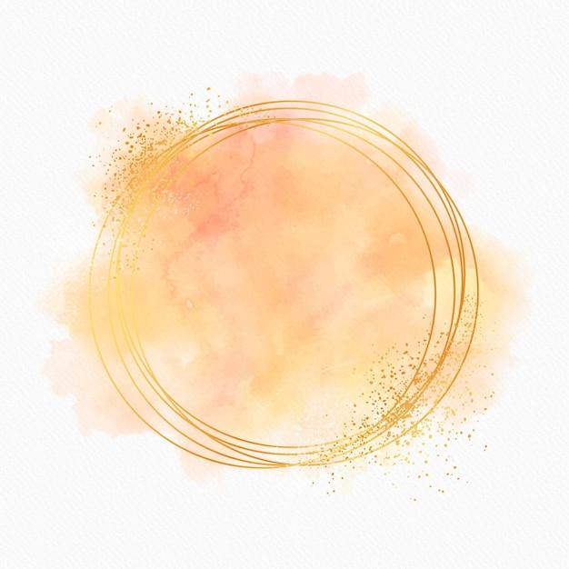 Пастельная акварель с золотой рамкой Бесплатные векторы