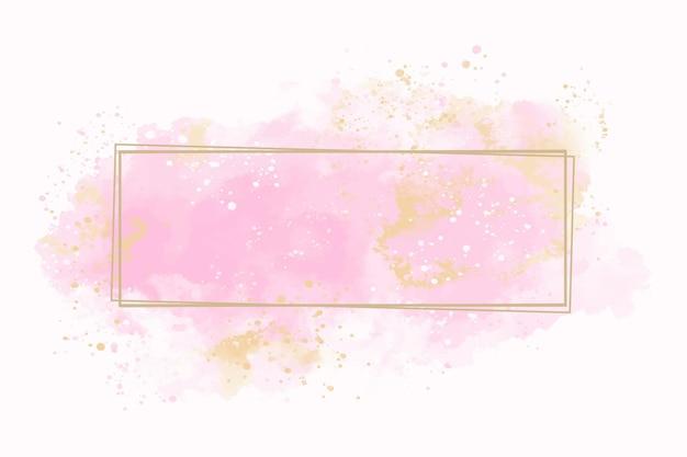 Пастельная акварель с золотой рамкой Premium векторы