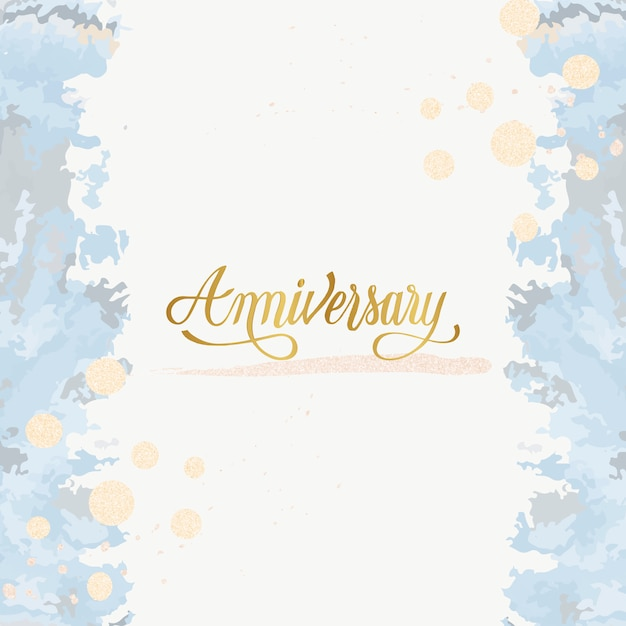 Pastel wedding anniversary card vector Free Vector