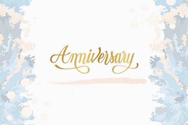 Pastel wedding anniversary card vector Free Vector