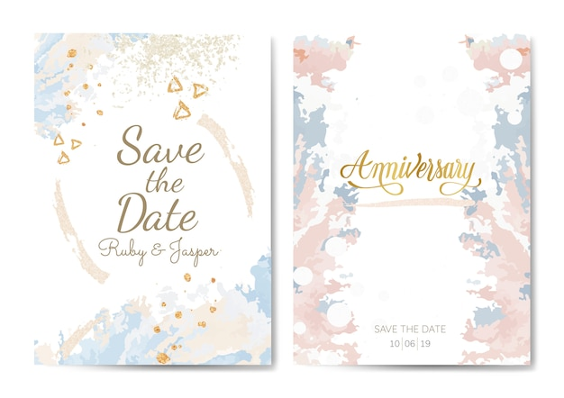 Pastel wedding and anniversary cards vector Free Vector