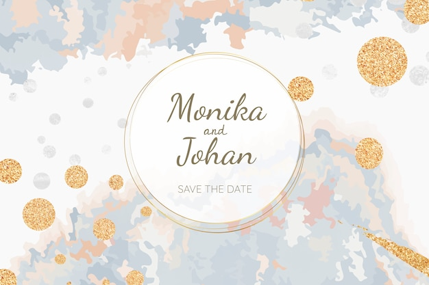 Pastel wedding invitation card vector Free Vector