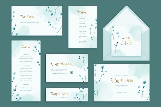 Pastel wedding stationery template Free Vector