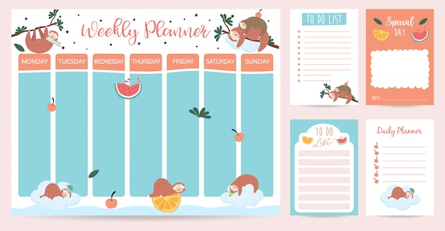 Pastel weekly planner with sloth,watercolor,orange and tree Premium Vector