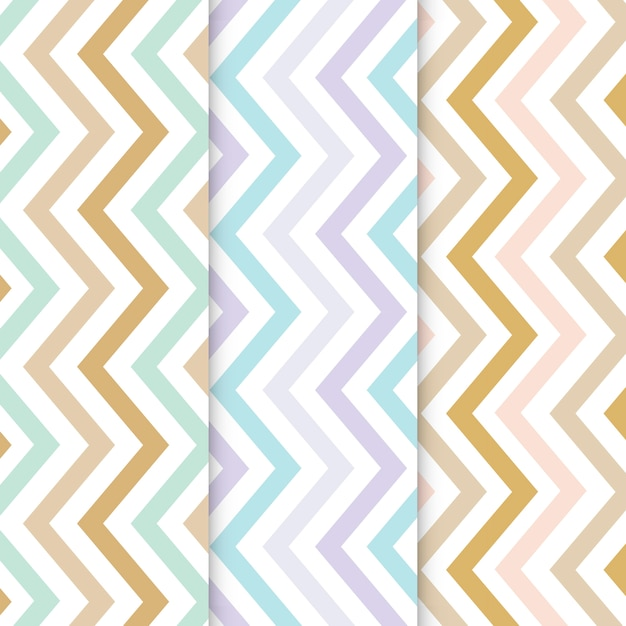 Pastel zigzag seamless pattern set Free Vector