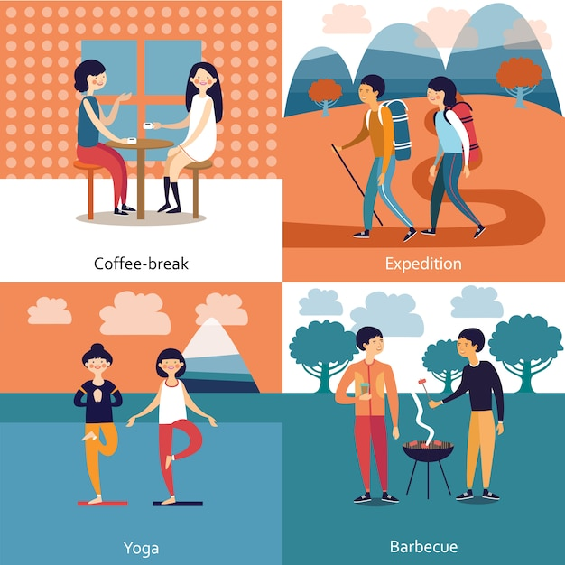 Pastime of friends illustration Free Vector