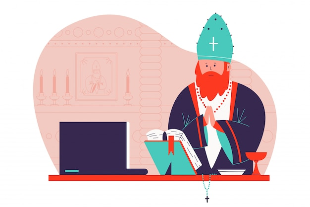 Pastor preaching in the church online cartoon illustration. Premium Vector