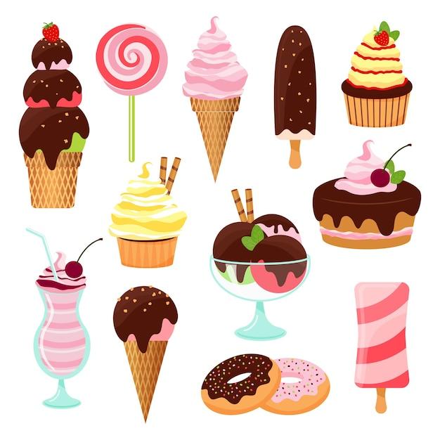 Пирожные, торты и мороженое с рожком мороженого и леденцом, кекс, пирожное, печенье, пончики, молочный коктейль, десерт и леденец с глазурью, шоколадной и вишневой, векторов на белом Бесплатные векторы