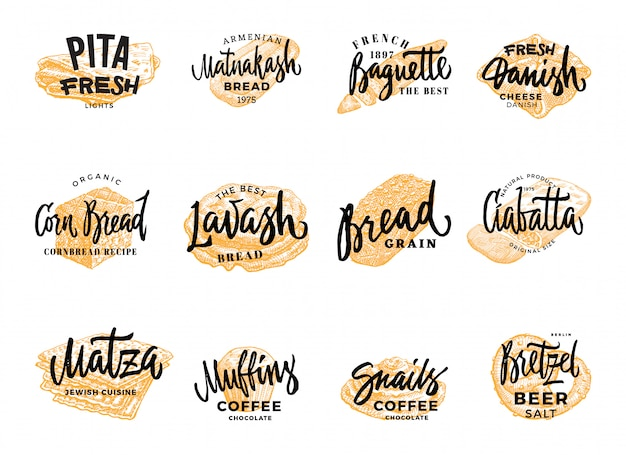 Pastry and bread logotypes set Free Vector