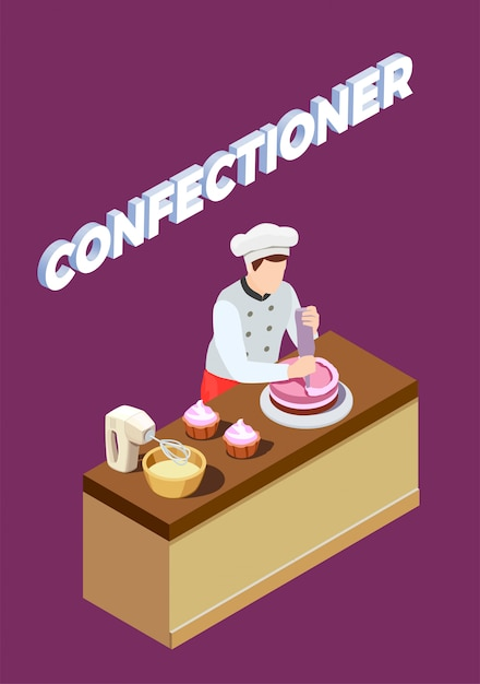 Pastry chef isometric background Free Vector