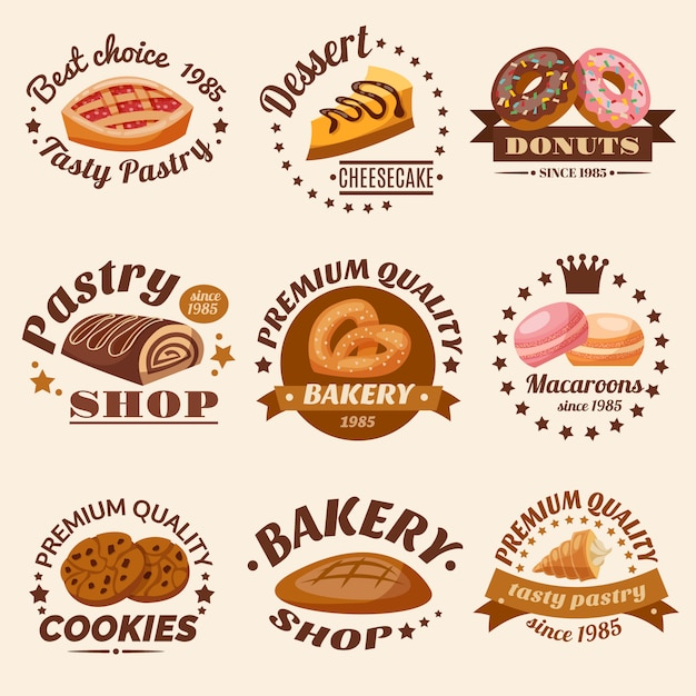 Pastry emblems set Free Vector