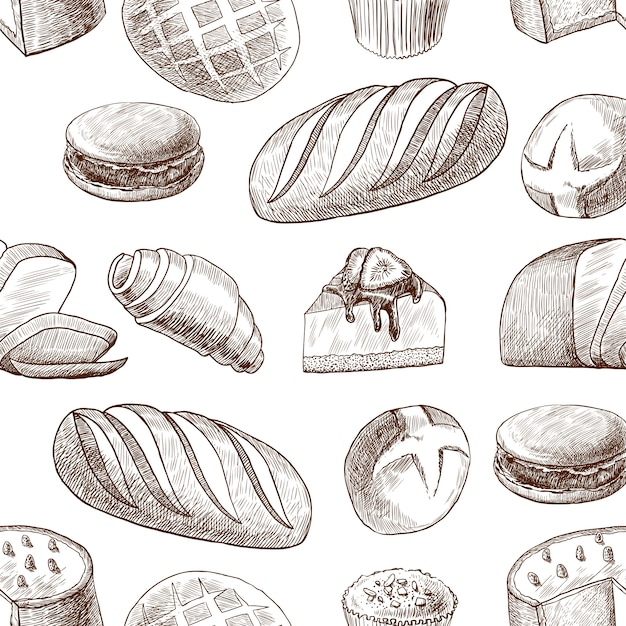 Pastry seamless pattern vintage drawing style Free Vector