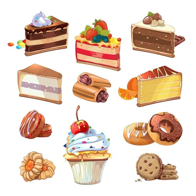 漫画風のペストリーセット。フードケーキ、甘いパン屋、クリームとおいしいスナック、ベクトルイラスト 無料ベクター