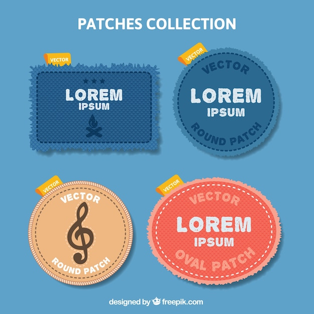 Patches collection of jeans textile Free Vector
