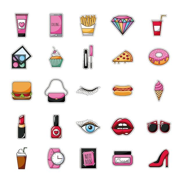Patches fast food dessert female accessories background Premium Vector