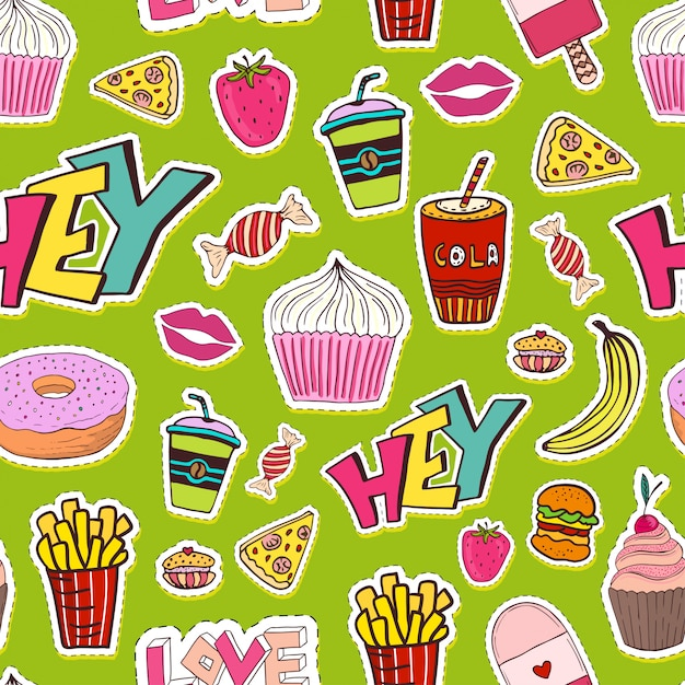 Patches seamless pattern with food Premium Vector