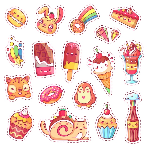 Patches of sweet strawberry kawaii pink dessert Premium Vector
