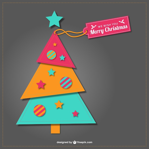 Patchwork christmas tree Free Vector