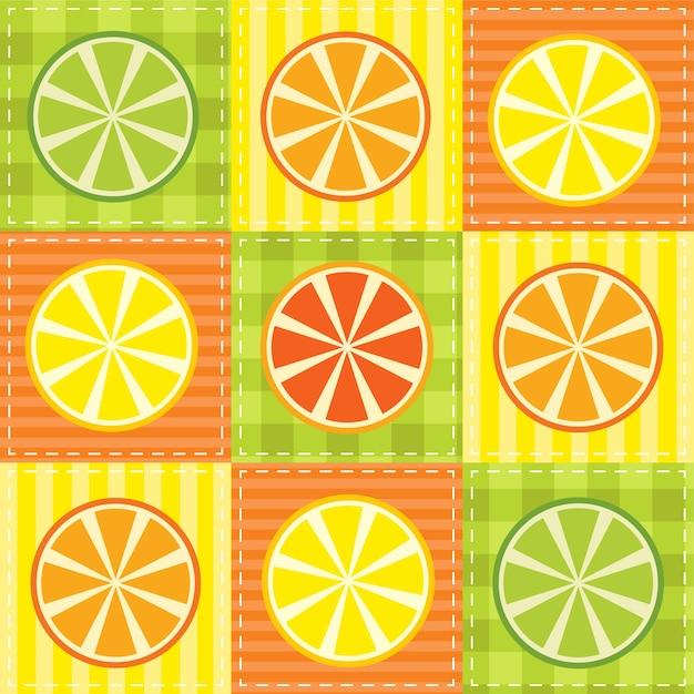 Пэчворк с лимоном, лаймом, апельсином и грейпфрутом Premium векторы