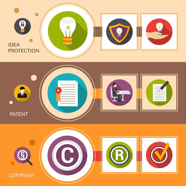 Patent idea protection banner set Free Vector