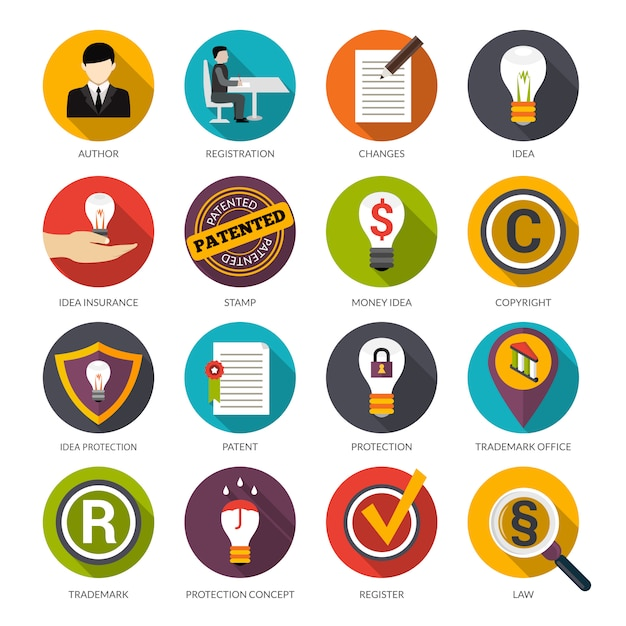 Patent idea protection icons Free Vector