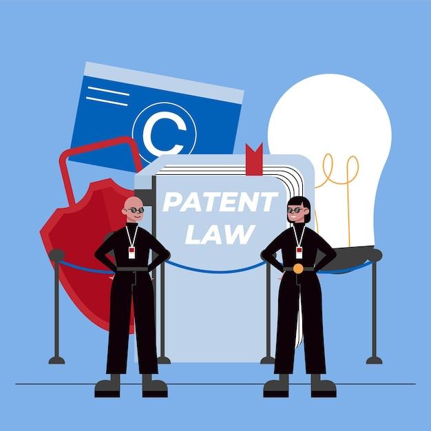 特許法と警備員の概念 無料ベクター